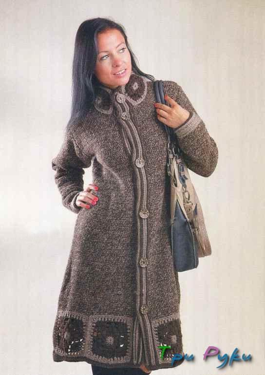 Coat with motifs - crochet inserts